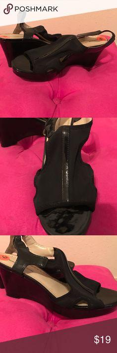 Black wedge heels Black wedge sling-back heels. Only worn once! Adrienne Vittadini Shoes Wedges