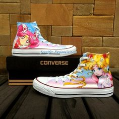 Sailor Moon Converse Sailor Moon Anime Shoes O. Painted Canvas Shoes, Painted Sneakers, Hand Painted Shoes, Canvas Sneakers, Custom Converse, Custom Shoes, Converse Shoes, All Star, Sailor Moon Character