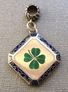 Vintage 4-Leaf Clover Shamrock Lucky Bracelet Charm or Pendant - Silver & Enamel Antique Jewelry