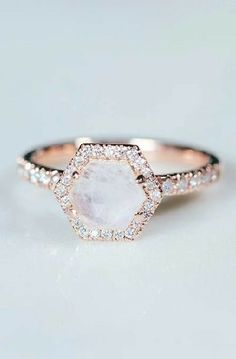 Image result for moonstone engagement ring rose gold