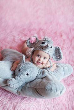 Little elephant earflap or beanie chunky yarn crochet pattern