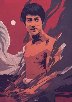 The Dragon, Bruce Lee on Behance - Conrado Salinas Portrait Illustration, Digital Illustration, Arte Bruce Lee, Dragons Online, Salinas, Native American Artwork, Art Images, Illustrations Posters, Design Art