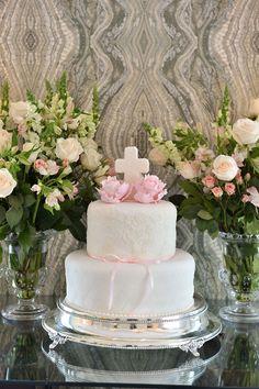 Pastel para Bautizo de niña. Baby girl baptism cake