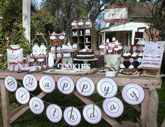 VINTAGE Milk and COOKIES Birthday Party Printables COLLECTION - Red - Milk and Cookies Party Printables - Exclusive Kiss Me Kate Design. $44.00, via Etsy.
