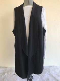 d3da155796c Eileen Fisher Woman s Vest 3X Shawl Collar Long Silk Georgette Crepe Black  NWT