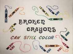 Cross Stitch Pattern - Broken Crayons (pdf for download) by RogueStitchery on Etsy