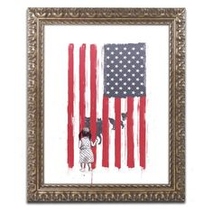 Trademark Fine Art Balazs Solti Little Girl And Wolves Framed Wall Art - ALI1392-G1620F