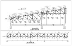 """Roof Truss Structure Detail"" make reference to the frames made up of timber that would be nailed, bolted or pegged together to form structurally independent Metal Building Kits, Metal Building Homes, Building Design, Stairs Architecture, Architecture Drawings, Architecture Design, Foster Architecture, Floating Architecture, Autocad"