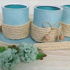 Twine Crafts, Tin Can Crafts, Rope Crafts, Diy Crafts Hacks, Diy Home Crafts, Diy Arts And Crafts, Diy Crafts Videos, Plastic Bottle Crafts, Mason Jar Crafts