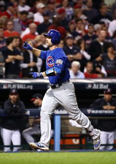 David Ross #3 of the Chicago Cubs celebrates after hitting a solo home run during the sixth inning against the Cleveland Indians in Game Seven of the 2016 World Series at Progressive Field on November 2, 2016 in Cleveland, Ohio. (Nov. 1, 2016 - Source: Ezra Shaw/Getty Images North America)