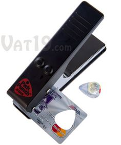 Create your own recycled guitar picks quickly and easily with the Pick Punch. Turn expired credit cards, old gift cards, hotel key cards, and other thin plastic into perfectly-shaped guitar picks.---Guitar Pick Punch
