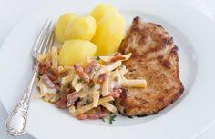 Schnitzel met koolraap, spekjes & tijm