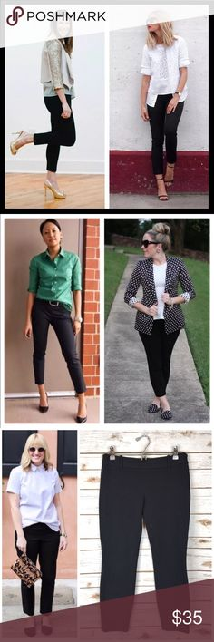 """j. crew // black cotton minnie ankle crop pants It's called the """"magic pant"""" around the office for a reason: It's sleek, chic and slim fitting, with an exactly-right-length leg. And it goes with just about everything. Fitted through hip and thigh, with a skinny, cropped leg. Cotton with a hint of stretch. Great preowned condition. 24.75"""" inseam. Top of waist is 15.75"""" across lying flat. J. Crew Pants Ankle & Cropped"""