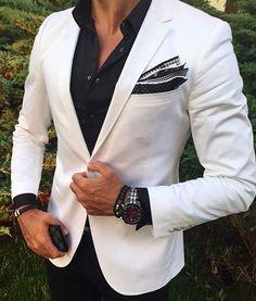 Ivory Men Suits for Business Black Pants Bridegroom Outfit Slim Fit Terno Masculino Best Man Attire Groomsmen Blazer Costume Homme Mens Fashion Suits, Mens Suits, Jackets Fashion, Stylish Men, Men Casual, Casual Blazer, White Casual, Black White, White Tuxedo