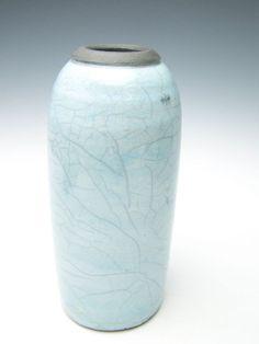 Vase Raku  pottery baby blue crackle vase by Letsgetmuddy, $54.00