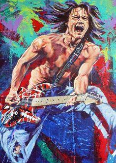 Eddie Van Halen, 20th Century Music, Heavy Metal Art, Pub, Guitar Art, Guitar Painting, Music Artwork, Dave Grohl, Rock Legends