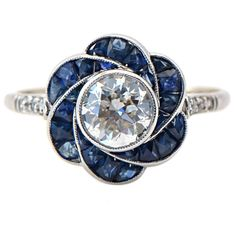 1930s Sapphire and Antique Euro Diamond Ring | From a unique collection of vintage engagement rings at https://www.1stdibs.com/jewelry/rings/engagement-rings/