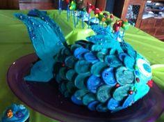 Escape Club, Giant Blue Birthday Fish, children's birthday cakes, Mandy Wrangles, party cakes