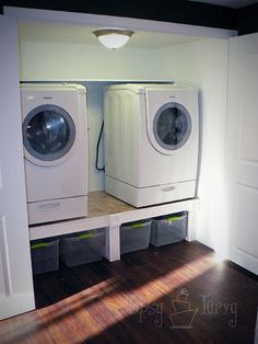 idea for a small laundry closet. adds more storage below than above Small Laundry Closet, Laundry Shelves, Laundry Dryer, Laundry Room Organization, Room Shelves, Laundry Room Design, Laundry Baskets, Laundry Storage, Laundry Rooms