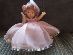 "Rare 1940's Pre Ginny Vogue Cinderella 7.5"" Toodles Bisque Doll Complete Marked"