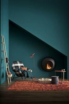 greenish wall & dark wooden floor
