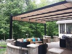 Residential and commercial retractable canopy and easy do-it-yourself awning and shade structures for your deck or patio. Turn your outdoor space into a new room. Retractable Pergola Canopy, Pergola Swing, Backyard Pergola, Retractable Shade, Patio Roof, Pergola Plans, Patio Sun Shades, Patio Shade, Pergola Shade