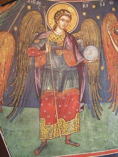 The murals of Theophanes of Crete Byzantine Icons, Byzantine Art, Monastery Icons, Orthodox Icons, Angel Art, Sacred Art, Christian Art, Illuminated Manuscript, Cherub