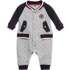 Armani Baby Boys Grey Quilted Jersey Romper at Childrensalon.com