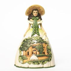 "- Size: 5"" wide x 9"" high - Resin Brand New Jim shore Gone With The Wind Scarlett In BBQ Dress Figurine Tara... the cotton plantation and symbol of Scarlett's strength... provides a perfect back drop"
