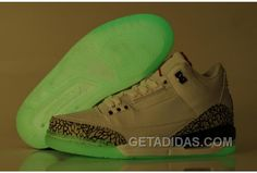 7835ed12f3a7 Air Jordan 3 Glow In The Dark White Cement Grey Fire Red Achat Pas Cher