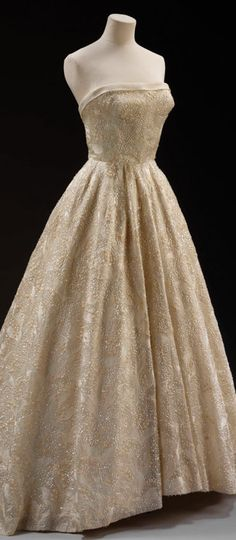 'Les Muguets' (Lily of the Valley)  Evening dress  Hubert de Givenchy  Paris  1955.