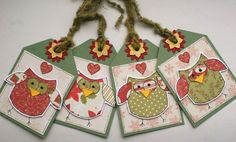Christmas Owls  Set of 4 Holiday Gift by CraftyMushroomCards, £3.00