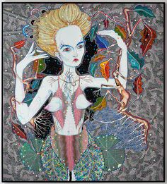 Del Kathryn Barton goes the road, synthetic polymer paint and gouache on polyester canvas; Del Kathryn Barton, Australian Artists, Divine Feminine, Portrait Photo, Gouache, Les Oeuvres, Passion For Fashion, Original Paintings, Princess Zelda