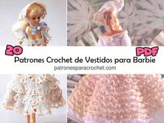 20 patrones crochet de vestidos para Barbie Barbie, Irish Crochet, Knit Crochet, Vestidos Bebe Crochet, Crochet Gratis, Crochet For Beginners, Crochet Flowers, Knitting, Hats