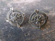 """Compass Rose Cufflinks in Antique Bronze 1"""" (2.5cm) Diameter in Gift Box, Steampunk, Nautical  $18"""