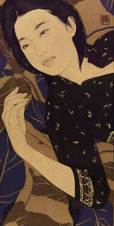 Contemporary Artist: Ikenaga Yasunari (b. ) -Ikenaga Yasunari (right) with collector and recent painting Born in artist Ikenaga Yasunari's serene and soothing portraits of modern women. Art And Illustration, Tattoo Aquarelle, Art Asiatique, Art Japonais, Japanese Painting, Oita, Japanese Prints, Japan Art, Fine Art
