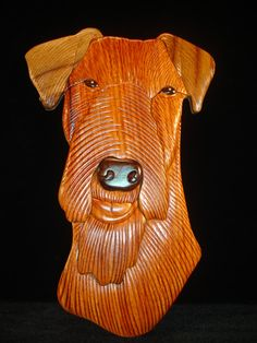 Hand Carved Wood Art Intarsia AIREDALE TERRIER by MyHeritageUSA