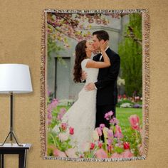 Personalized Wedding Photo Tapestry Throw Blanket - Gifts Happen Here - 1