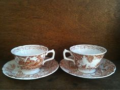 Vintage English Pheasant Tea Cups by EnglishShop on Etsy, $49.00