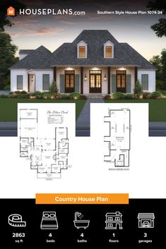 This Southern style house plan gives you a modern living room design and a big front porch. Questions? Call 1-800-913-2350 today. #blog #architecture #modern #modernhouseplans #farmhouse #modernfarmhouseplan #modernfarmhouse #farmhousestyle #texas modernfarmhousestylebedroom Modern Farmhouse Plans, Modern Farmhouse Kitchens, Modern House Plans, Farmhouse Style, Big Front Porches, Country House Plans, Southern Style, Modern Living, Dream Homes