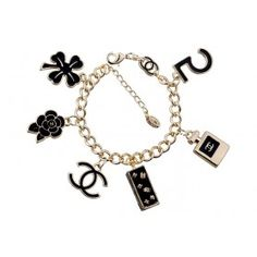 Chanel Replica Black Enameled Gold Charms Bracelet