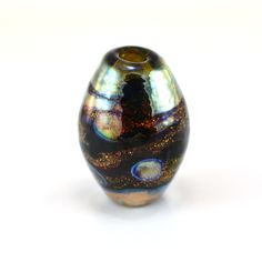 Metallic Silver on Copper Dichroic Handmade Glass Lampwork Bead by GlassyFields on Etsy