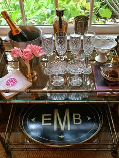 pretty pink tulips: Champagne Bar Cart (love the monogrammed tray)