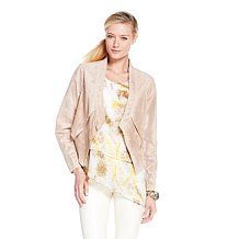 G by @Giuliana Rancic Perforated Suede Draped Blazer #Sand