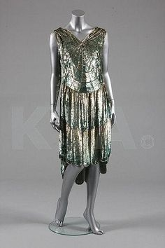 Full photo of the 'cobweb' sequined flapper dress, French, circa 1928.