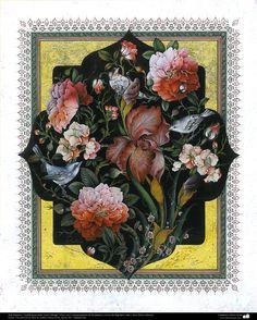 """Arte Islámico-Tazhib persa estilo """"Gol-o Morgh"""" -Flor y ave- 43   Galería de Arte Islámico y Fotografía"""