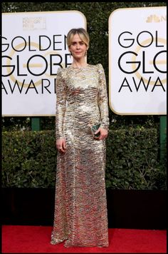 "Sarah Paulson, won for best performance by an actress in a limited series or a motion picture made for television for her role in ""The People v. O.J. Simpson: American Crime Story,"" wearing Marc Jacobs."