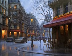 """Cafe Royale Des Vins"" - Alexei Butirskiy Limited Edition Giclee on Canvas"