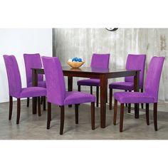 Warehouse Of Tiffany 7 Piece Purple Shino Dining Set By Warehouse Of Tiffany