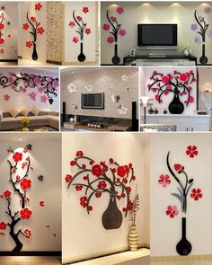 3d Wall Decals, Wall Stickers Wallpaper, Mural Wall Art, Wall Stickers Home Decor, Wall Decor, Living Room Tv Unit Designs, Small Living Rooms, Mosaic Art, Wall Design